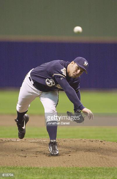 Pitcher Ben Sheets of the Milwaukee Brewers throws a pitch during the MLB game against the Cincinnati Reds at Miller Park in Milwaukee, Wisconsin on...