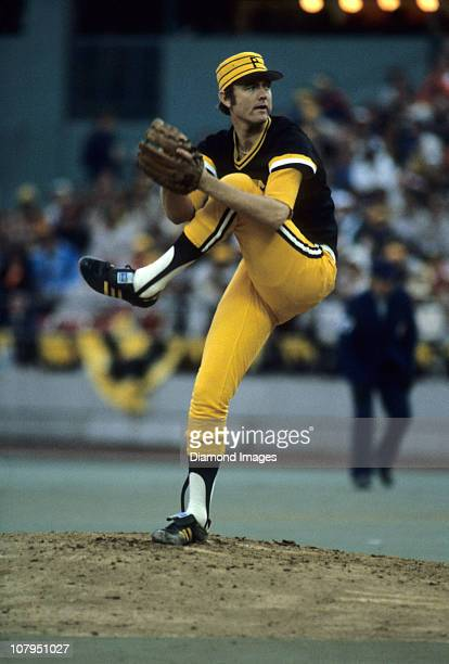 Pitcher Bert Blyleven of the Pittsburgh Pirates throws a pitch during game five of the World Series on October 14 1979 against the Baltimore Orioles...