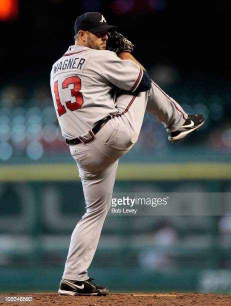 Pitcher Billy Wagner of the Atlanta Braves throws in the ninth inning against the Houston Astros at Minute Maid Park on August 11, 2010 in Houston,...