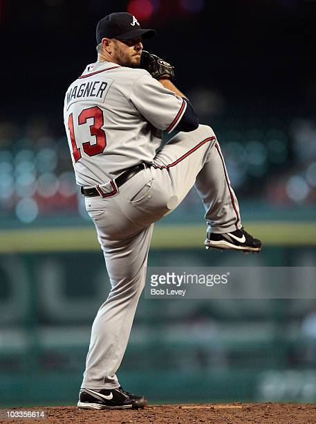 Pitcher Billy Wagner of the Atlanta Braves throws in the ninth inning against the Houston Astros at Minute Maid Park on August 11 2010 in Houston...