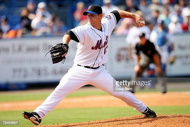 Pitcher Billy Wagner of the New York Mets pitches against the Detroit Tigers in a spring training game on February 28 2007 at Tradition Field in Port...