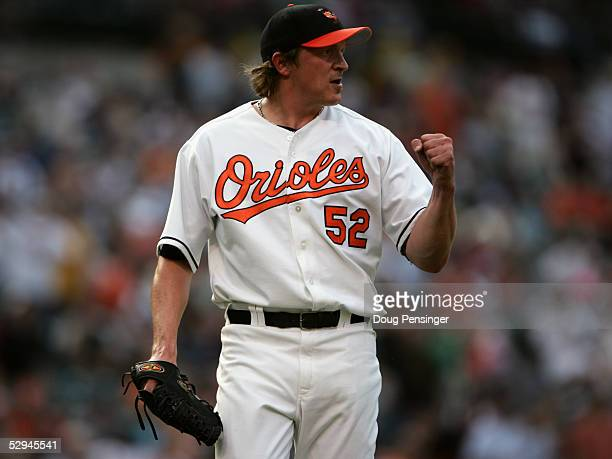 Pitcher BJ Ryan of the Baltimore Orioles celebrates during the game against the Minnesota Twins at Oriole Park at Camden Yards on May 11 2005 in...