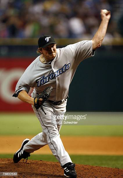 Pitcher BJ Ryan of the Toronto Blue Jays delivers a pitch in the ninth inning against the Tampa Bay Devil Rays on April 6 2007 at Tropicana Field in...