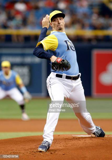 Pitcher Blake Snell of the Tampa Bay Rays pitches during the first inning of a game against the Boston Red Sox on August 26 2018 at Tropicana Field...