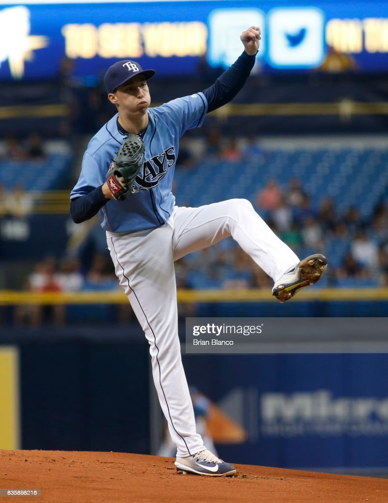 Pitcher Blake Snell #4 of the Tampa Bay Rays pitches during the first inning of a game against the Seattle Mariners on August 20, 2017 at Tropicana Field in St. Petersburg, Florida.