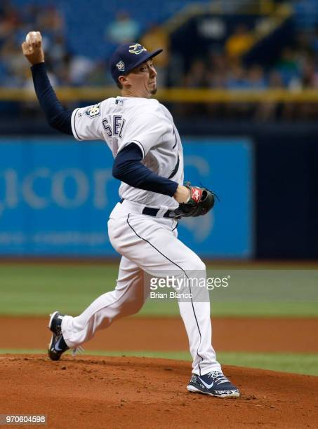 Pitcher Blake Snell of the Tampa Bay Rays pitches during the first inning of a game against the Seattle Mariners on June 9 2018 at Tropicana Field in...