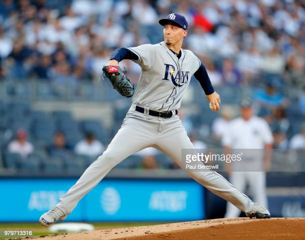 Pitcher Blake Snell of the Tampa Bay Rays pitches in an MLB baseball game against the New York Yankees on June 14 2018 at Yankee Stadium in the Bronx...