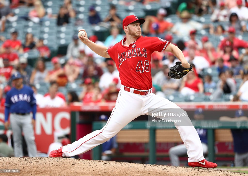 Pitcher Blake Wood #46 of the Los Angeles Angels of Anaheim pitches during the sixth inning of the MLB game against the Texas Rangers at Angel Stadium of Anaheim on September 17, 2017 in Anaheim, California. The Rangers defeated the Angels 4-2.