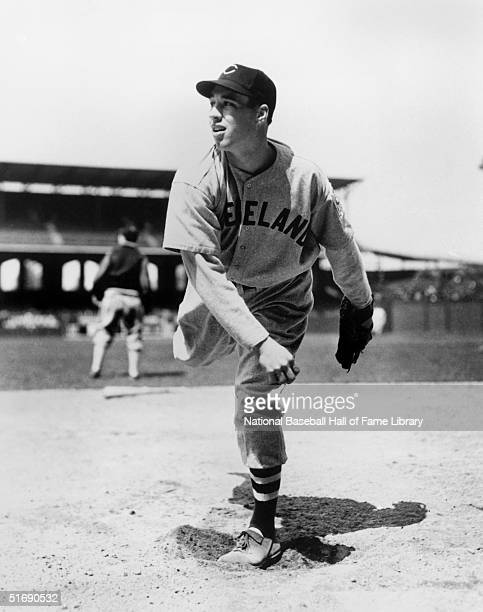 Pitcher Bob Feller of the Cleveland Indians delivers a pitch circa 19361956