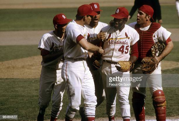 Pitcher Bob Gibson of the St Louis Cardinals pitches a complete game victory against the Boston Red Sox in game four of the World Series October 8...