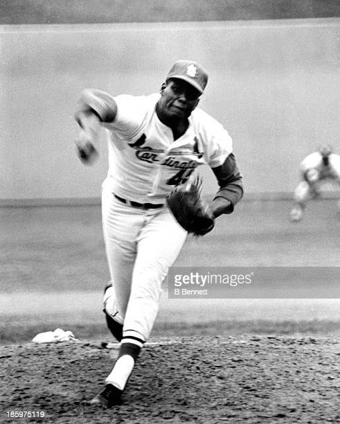 Pitcher Bob Gibson of the St Louis Cardinals throws a pitch during Game 4 of the 1967 World Series against the Boston Red Sox on October 8 1967 at...