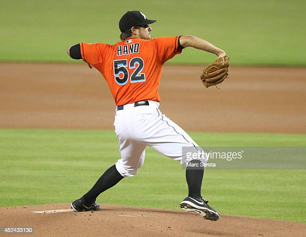 Pitcher Brad Hand of the Miami Marlins throws against the San Francisco Giants during the second inning at Marlins Park on July 20 2014 in Miami...