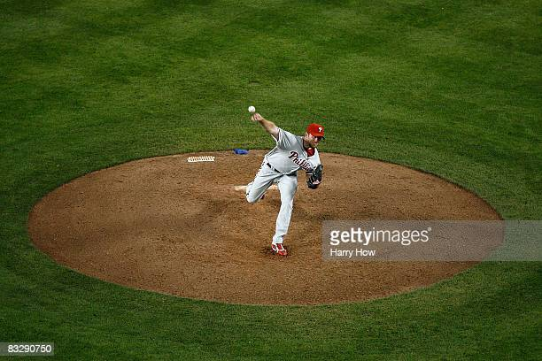 Pitcher Brad Lidge of the Philadelphia Phillies on the mound in the ninth inning of Game Five of the National League Championship Series as the...