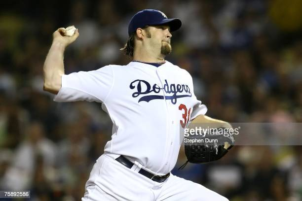 Pitcher Brad Penny of the Los Angeles Dodgers on the mound against the San Francisco Giants at Dodger Stadium on July 31, 2007 in Los Angeles,...