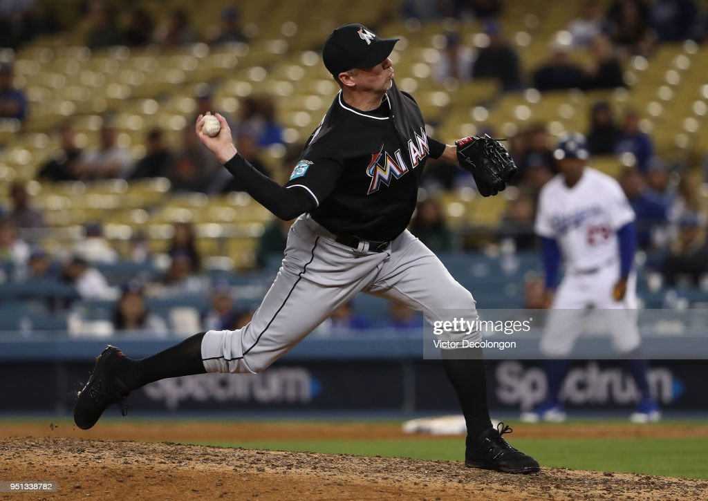 Pitcher Brad Ziegler #29 of the Miami Marlins pitches in the ninth inning during the MLB game against the Los Angeles Dodgers at Dodger Stadium on April 25, 2018 in Los Angeles, California. The Marlins defeated the Dodgers 8-6.