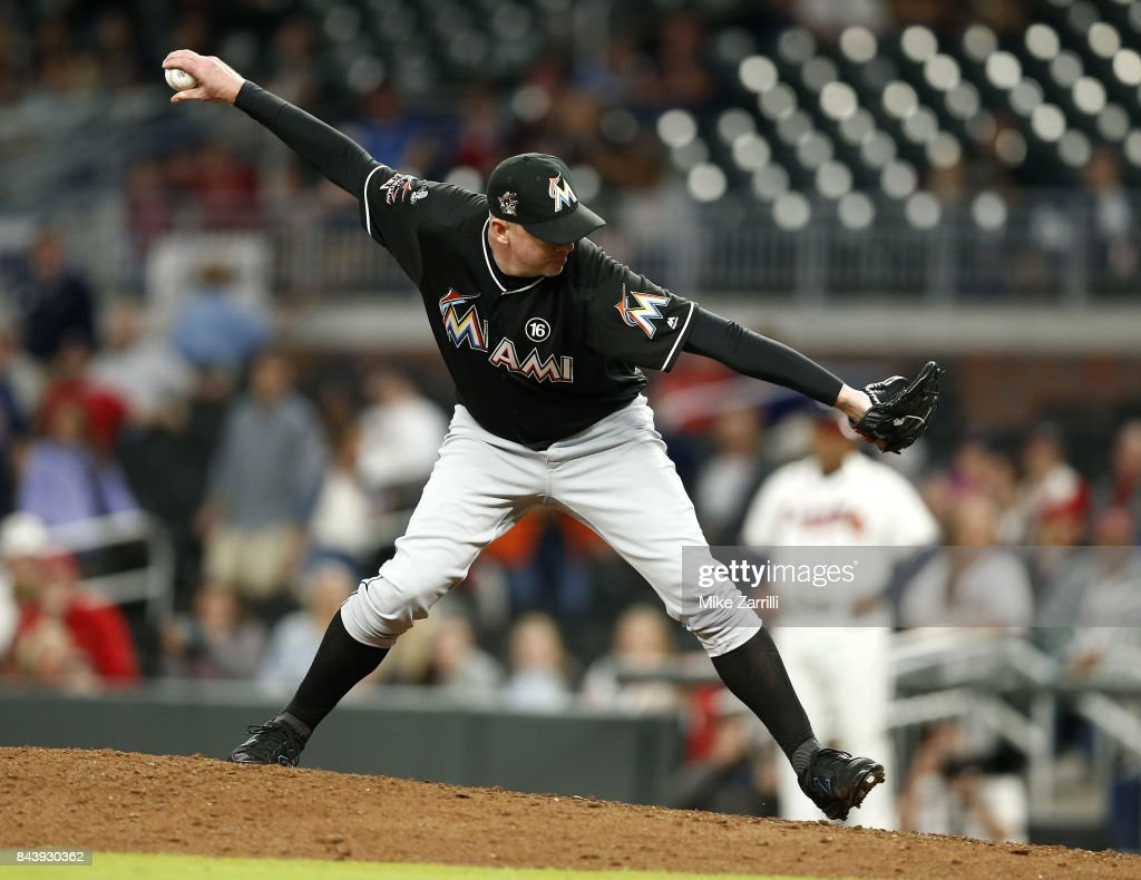 Pitcher Brad Ziegler #29 of the Miami Marlins throws a pitch in the ninth inning during the game against the Atlanta Braves at SunTrust Park on September 7, 2017 in Atlanta, Georgia.