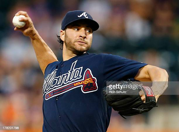 Pitcher Brandon Beachy of the Atlanta Braves delivers a pitch against the New York Mets during a game on August 20 2013 at Citi Field in the Flushing...