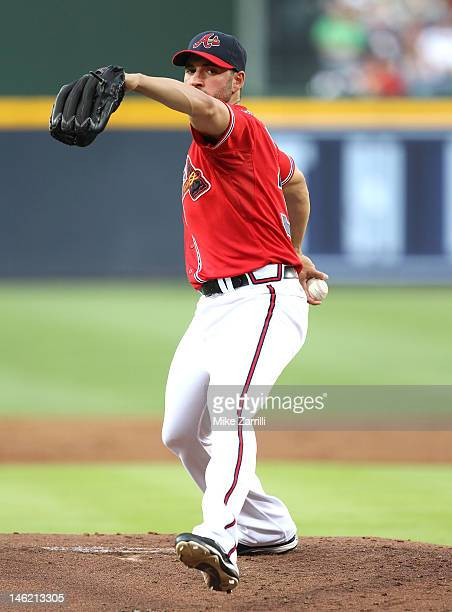 Pitcher Brandon Beachy of the Atlanta Braves throws a pitch during the interleague game against the Toronto Blue Jays at Turner Field on June 8 2012...