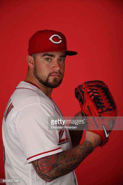 Pitcher Brandon Finnegan of the Cincinnati Reds poses for a portait during a MLB photo day at Goodyear Ballpark on February 18 2017 in Goodyear...