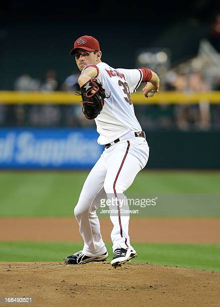 Pitcher Brandon McCarthy of the Arizona Diamondbacks pitches against the Colorado Rockies in the first inning at Chase Field on April 26 2013 in...