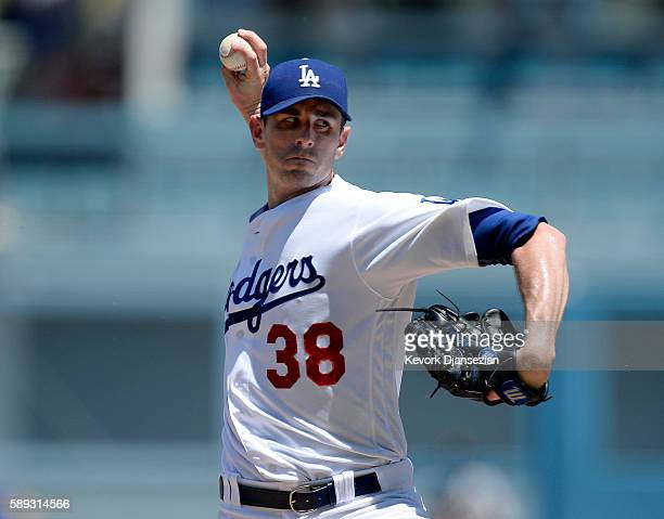 Pitcher Brandon McCarthy of the Los Angeles Dodgers throws against the Pittsburgh Pirates during the second inning of the baseball game at Dodger...