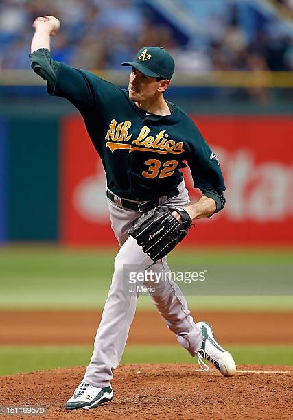 Pitcher Brandon McCarthy of the Oakland Athletics pitches against the Tampa Bay Rays during the game at Tropicana Field on August 25 2012 in St...