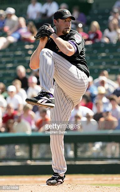 Pitcher Brandon Webb of the Arizona Diamondbacks throws a pitch against the Los Angeles Angels of Anaheim on March 7 2006 at Tempe Diablo Stadium in...