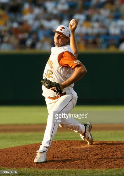 Pitcher Brandon Workman of the Texas Longhorns pitches on the mound against the Louisiana State University Tigers during Game 3 of the 2009 NCAA...