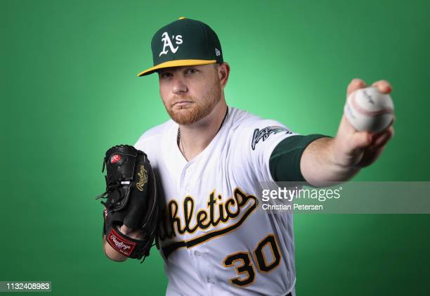 Pitcher Brett Anderson of the Oakland Athletics poses for a portrait during photo day at HoHoKam Stadium on February 19 2019 in Mesa Arizona