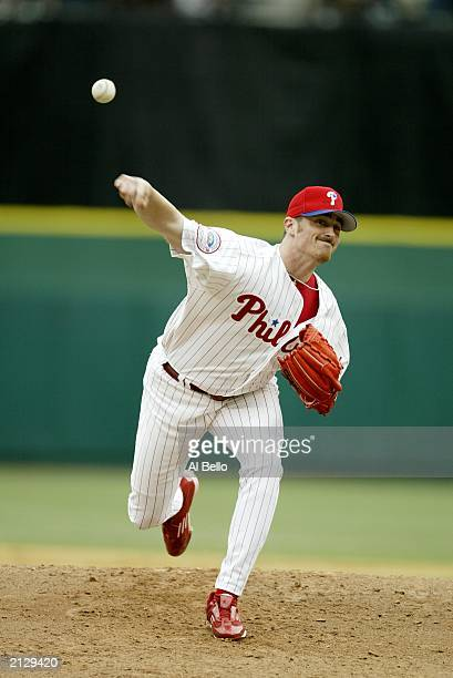 Pitcher Brett Myers of the Philadelphia Phillies delivers the pitch before the start of the second inning against the Boston Red Sox during...