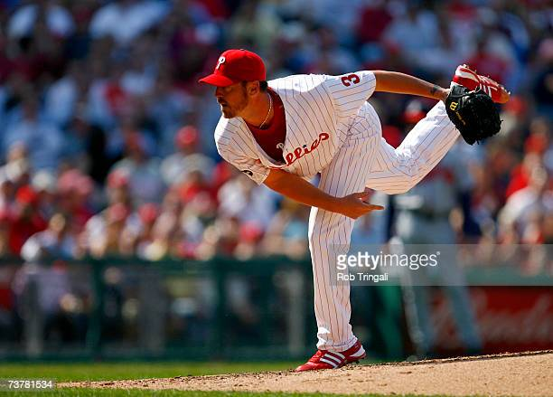 Pitcher Brett Myers of the Philadelphia Phillies pitches against the Atlanta Braves during a Opening Day game on April 2 2007 at Citizens Bank Park...