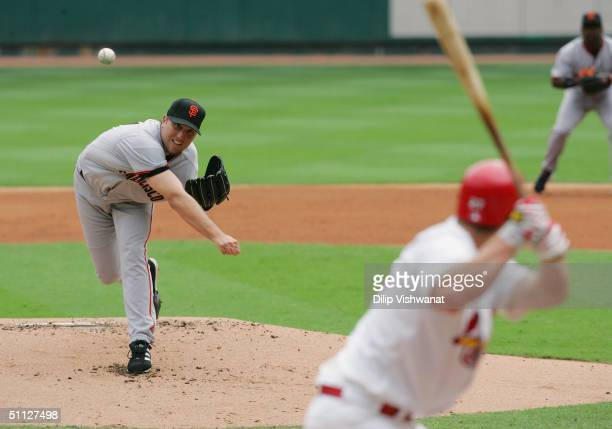 Pitcher Brett Tomko of the San Francisco Giants on the mound during the game against the St. Louis Cardinals on July 24, 2004 at Busch Stadium in St....