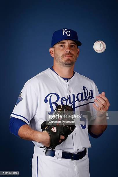 Pitcher Brian Duensing of the Kansas City Royals poses for a portrait during spring training photo day at Surprise Stadium on February 25 2016 in...