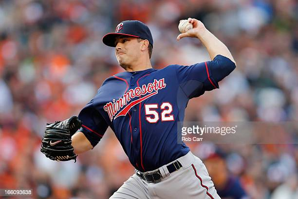 Pitcher Brian Duensing of the Minnesota Twins throws to a Baltimore Orioles batter at Oriole Park at Camden Yards on April 5 2013 in Baltimore...