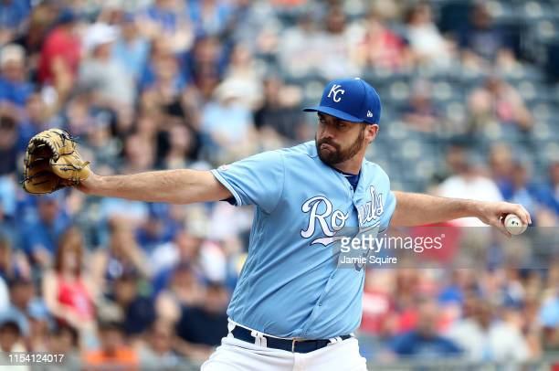 Pitcher Brian Flynn of the Kansas City Royals in action during the game against the Boston Red Sox at Kauffman Stadium on June 06 2019 in Kansas City...