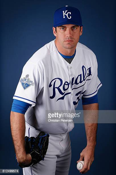 Pitcher Brian Flynn of the Kansas City Royals poses for a portrait during spring training photo day at Surprise Stadium on February 25 2016 in...