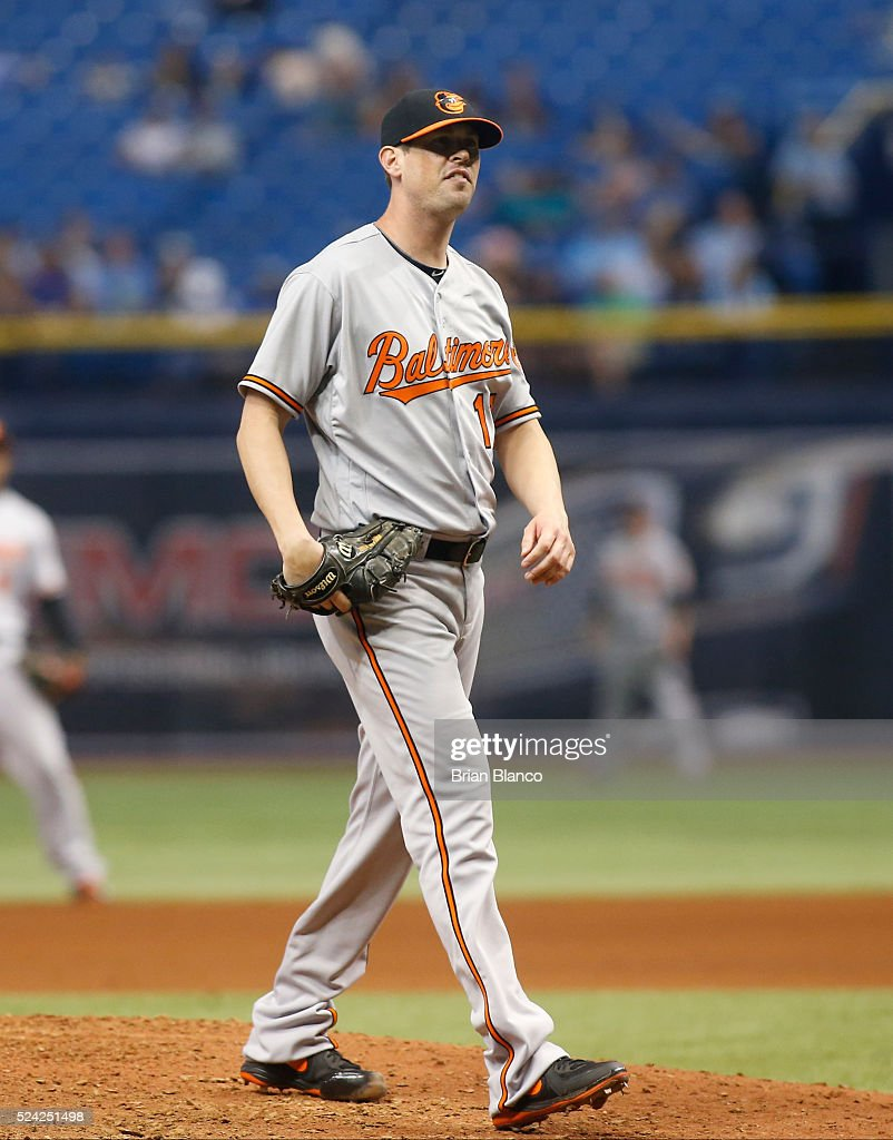 Pitcher Brian Matusz #17 of the Baltimore Orioles reacts on the mound after walking Kevin Kiermaier of the Tampa Bay Rays to load the bases during the sixth inning of a game on April 25, 2016 at Tropicana Field in St. Petersburg, Florida.