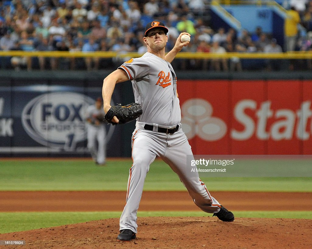 Pitcher Brian Matusz #17 of the Baltimore Orioles throws in relief against the Tampa Bay Rays September 22, 2013 at Tropicana Field in St. Petersburg, Florida. The Rays won3 - 1.