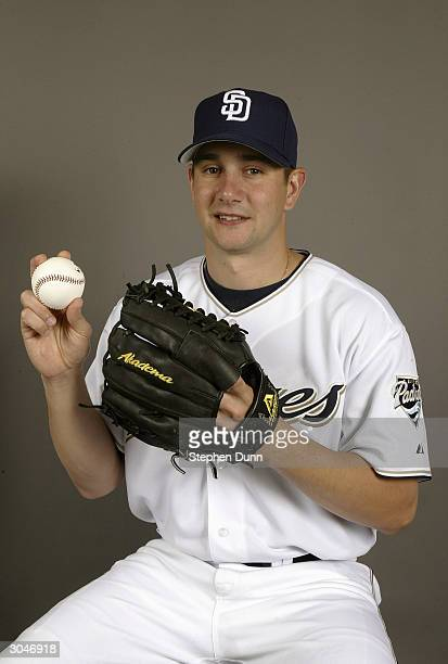 Pitcher Brian Sweeney of the San Diego Padres poses for a picture during media day at Peoria Sports Complex on February 28 2004 in Peoria Arizona