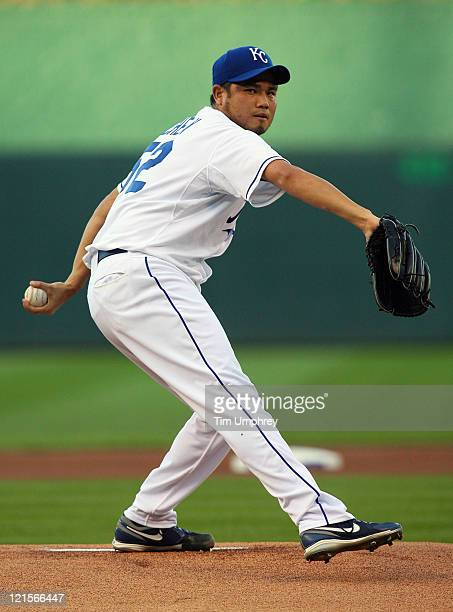 Pitcher Bruce Chen of the Kansas City Royals pitches against the New York Yankees at Kauffman Stadium on August 17 2011 in Kansas City Missouri The...