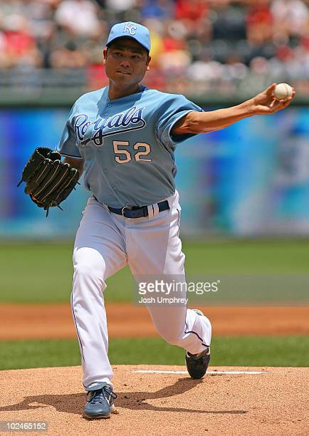 Pitcher Bruce Chen of the Kansas City Royals pitches against the St Louis Cardinals in a game on June 27 2010 at Kauffman Stadium in Kansas City...