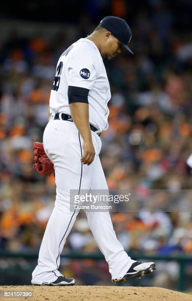 Pitcher Bruce Rondon of the Detroit Tigers kicks at the mound after giving up a threerun home run to Josh Reddick of the Houston Astros during the...