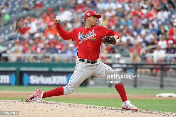 Pitcher Bryan Mata of the World Team and the Boston Red Sox works the third inning against the US Team during the SiriusXM AllStar Futures Game at...