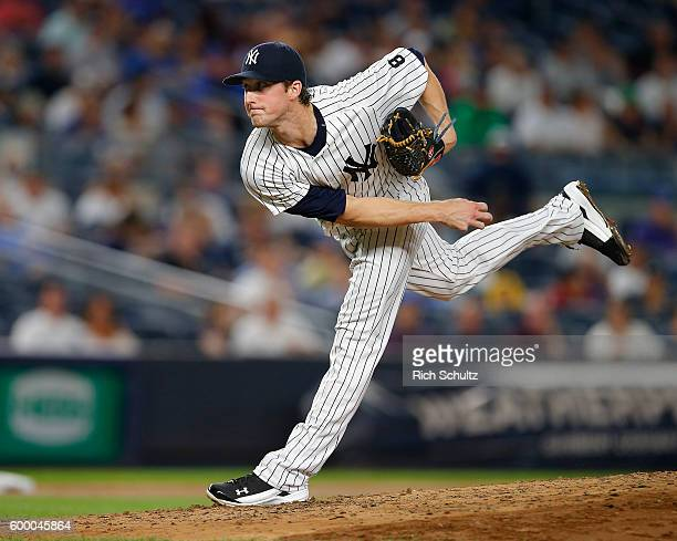 Pitcher Bryan Mitchell of the New York Yankees delivers a pitch against the Toronto Blue Jays during the third inning of a game at Yankee Stadium on...