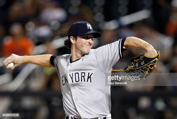 Pitcher Bryan Mitchell of the New York Yankees pitches during an interleague MLB baseball game against the New York Mets on August 17 2017 at...