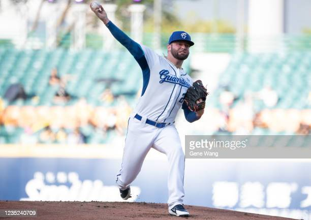 Pitcher Bryan Woodall of Fubon Guardians pitching at the top of the 1st inning during the CPBL game between Fubon Guardians and CTBC Brothers at the...