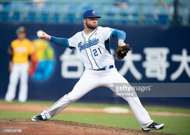 Pitcher Bryan Woodall of Fubon Guardians pitching at the top of the 5th inning during the CPBL game between Fubon Guardians and CTBC Brothers at the...