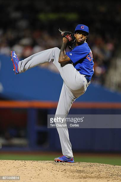 Pitcher Carl Edwards Jr #6 of the Chicago Cubs pitching during the Chicago Cubs Vs New York Mets regular season MLB game at Citi Field on July 02...