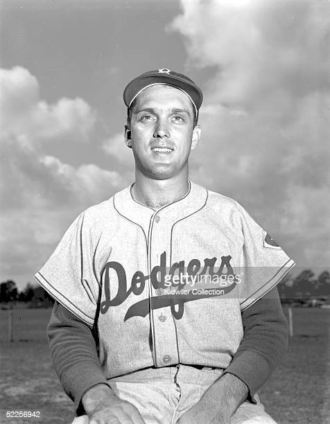 Pitcher Carl Erskine of the Brooklyn Dodgers poses for a portrait during Spring Training in March 1951 in Vero Beach Florida