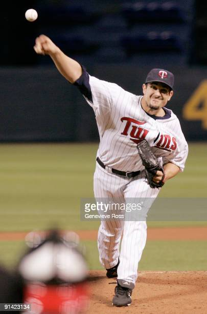 Pitcher Carl Pavano of the Minnesota Twins throws against the Kansas City Royals during their last game at Hubert H. Humphrey Metrodome on October 4,...